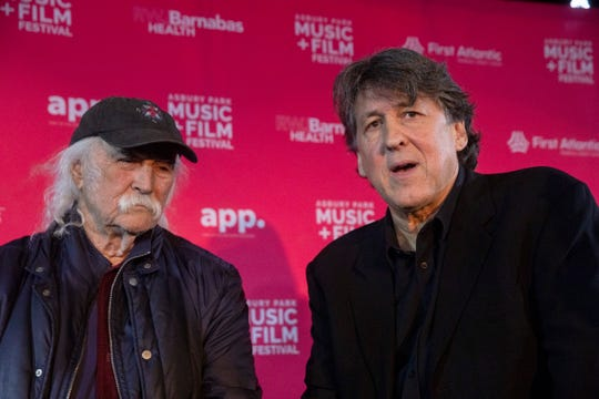 """David Crosby and Cameron Crowe during presser discussing their documentary on the singer called """"David Crosby: Remember My Name""""  during the Asbury Park Music and Film Festival."""