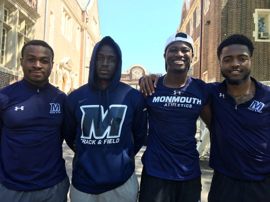 Monmouth men's 4x100, left to right: Bryan Sosoo, Miguerson Joseph, Nadale Buntin, Khalid Slocum