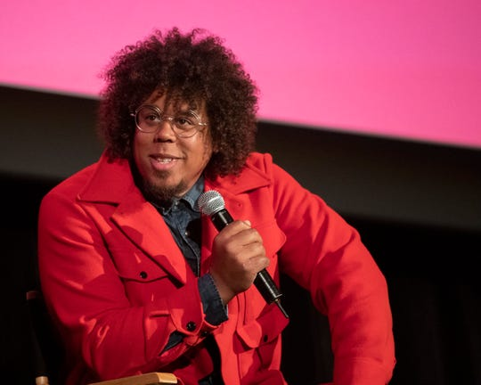 """Jake Clemons give his reaction to seeing the completed documentary about Clarence Clemons during panel discussion after presentation of the movie """"Who Do You Think I Am"""" at the Asbury Park Music and Film Festival."""