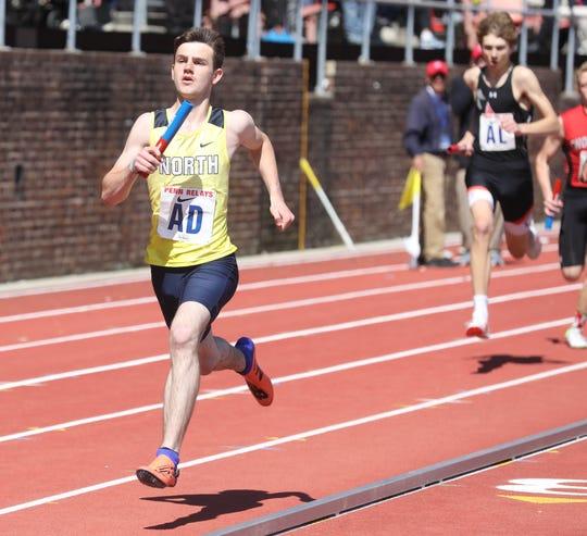 Jordan Grey of Toms River North ruins the anchor leg of the 4x400 relay.
