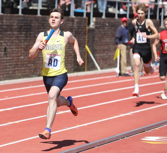 Jordan Grey of Toms River North ruins the anchor leg of the 4x400 relay.