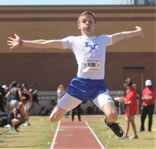 San Angelo Lake View's Elliot Peterson competes in the 4A boys long jump. He finished 13th with a leap of 20-01/2 at the Region I-4A track and  field meet Saturday, April 27, 2019, at Lowrey Field in Lubbock.
