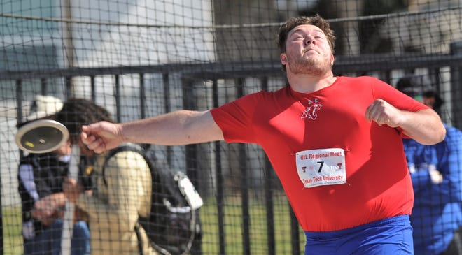 Cooper's McCord Whitaker unleashes a throw in the Class 5A boys discus. The junior finished second with a toss of 165-1 at the Region I-5A track and field meet Saturday at Lowrey Field in Lubbock.