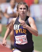 Wylie's Abbigayle Gollihar eyes the finish line in the girls 800 meters. She finished third in 2:18.65 at the Region I-5A track and field meet Saturday, April 27, 2019, at Lowrey Field in Lubbock.