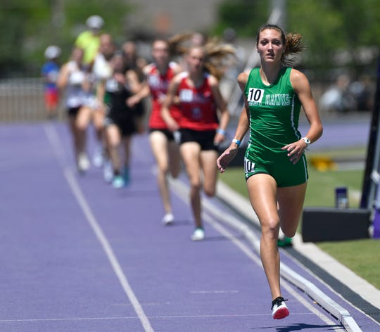 Jayden Fiebiger of Wall wins the girls 800 during the Region 1-3A track meet at Abilene Christian University Saturday April 27, 2019.