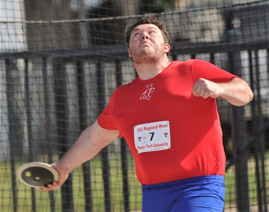 Cooper's McCord Whitaker competes in the Class 5A boys discus.