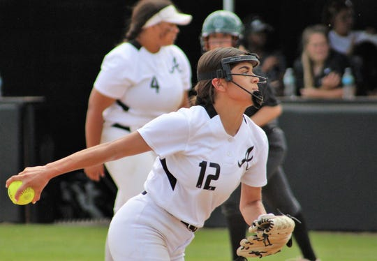 Aubrianna Salazar pitched two innings for Abilene High at home Saturday against Arlington High, allowing one hit. Three Abilene pitchers allowed no runs in Game 2 of the bi-district series, won by home team 18-0.