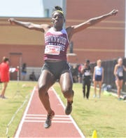 Brownwood's Aleyia Cotton competes in the 4A girls long jump. She finished third with a leap of 17 feet 11/2 inches at the Region I-4A track and field meet Saturday, April 27, 2019, at Lowrey Field in Lubbock.