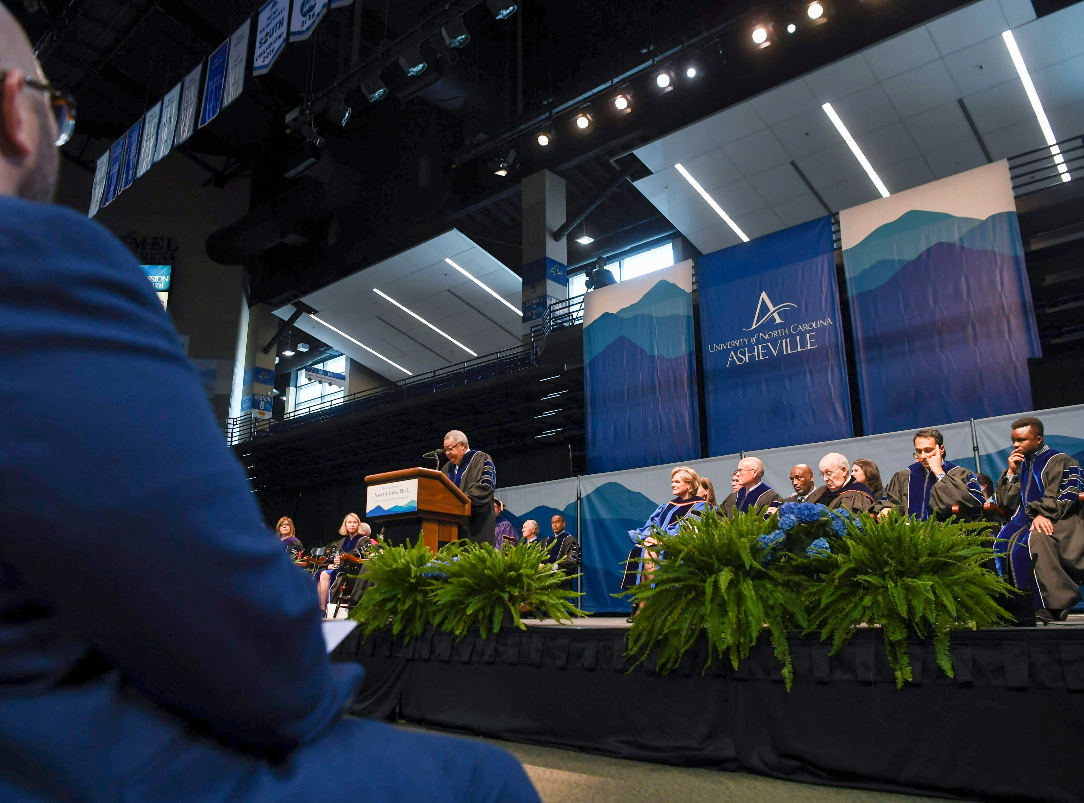 Nancy J. Cable was installed as the University of North Carolina Asheville's eighth chancellor April 26, 2019.