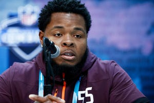 Cocoa High grad and offensive lineman Jawaan Taylor of Florida pictured speaking to the media during day one of interviews at the NFL Combine at Lucas Oil Stadium on February 28, 2019 in Indianapolis.