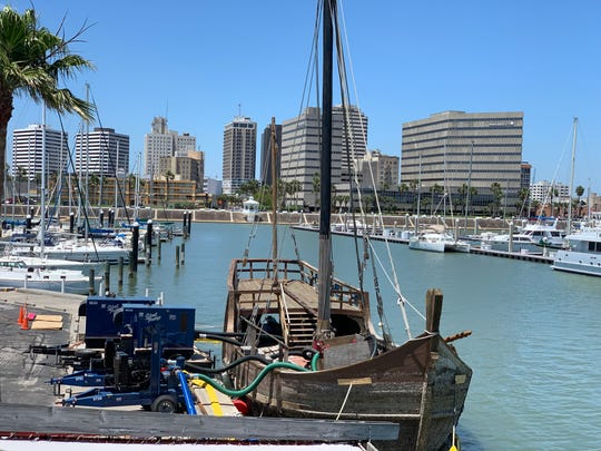 La Niña floats above water in Corpus Christi Bay Saturday, April 27, 2019. The last replica of Christopher Columbus' iconic ships sunk days before in Corpus Christi's downtown marina.
