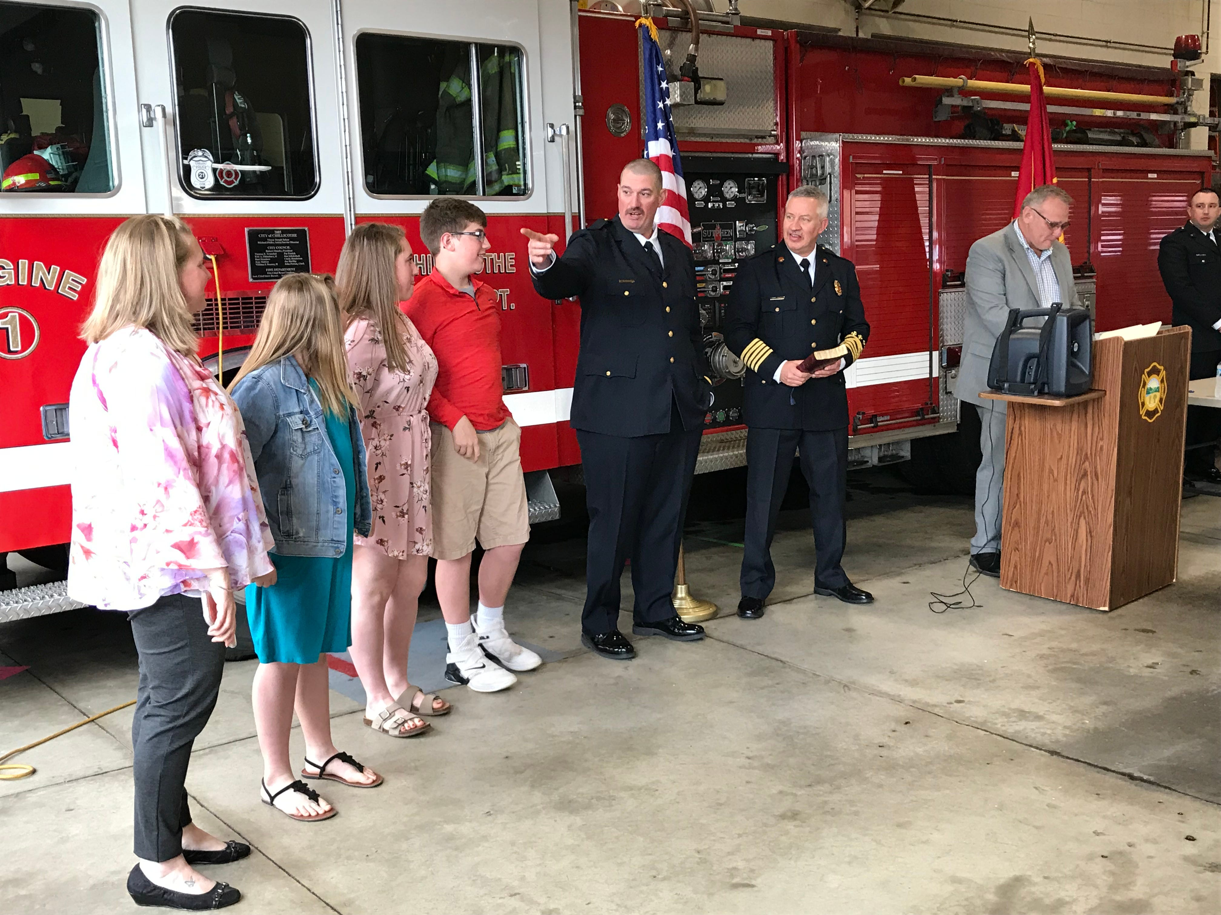 New Chillicothe Fire Capt. Ryan Wade introduces his family before being sworn in during a ceremony at Station 1 on Friday, April 26, 2019.