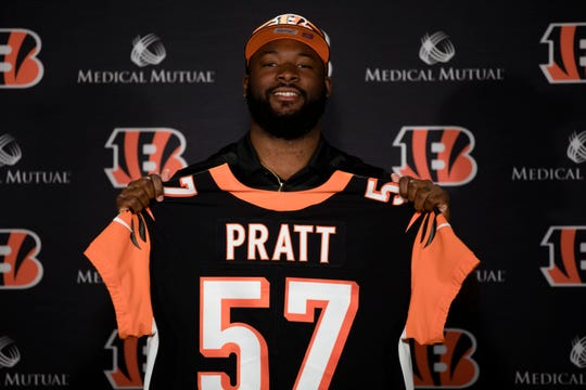 Bengals linebacker Germaine Pratt, from 3rd round draft pick from North Carolina State University, holds his jersey during a press conference on Saturday, April 27, 2019, at Paul Brown Stadium in Cincinnati.
