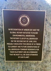 Plaque commemorating the donation of 35 trees.