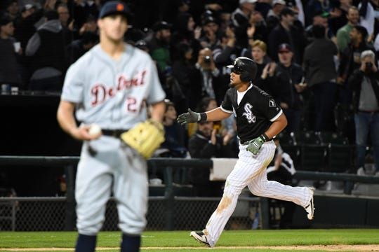 Chicago White Sox first baseman Jose Abreu (79) reacts after hitting a two-run home run against Detroit Tigers reliever Zac Reninger during the sixth inning at Guaranteed Rate Field, April 26, 2019.