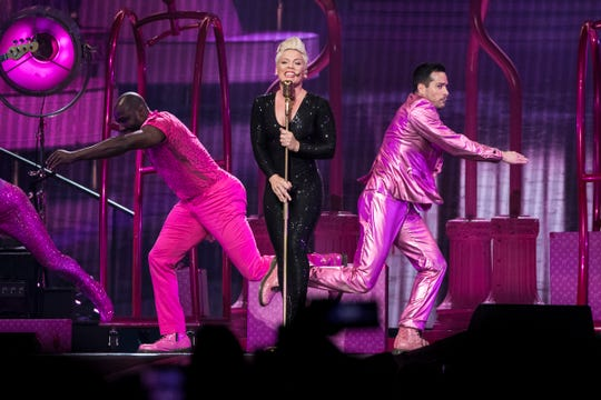 Pink performs during her Beautiful Trauma World Tour at Little Caesars Arena in Detroit, Friday, April 26, 2019.