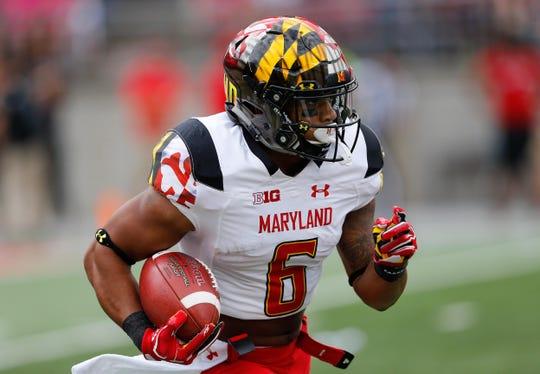 Maryland running back Ty Johnson runs against Ohio State, Oct. 7, 2017 in Columbus, Ohio.