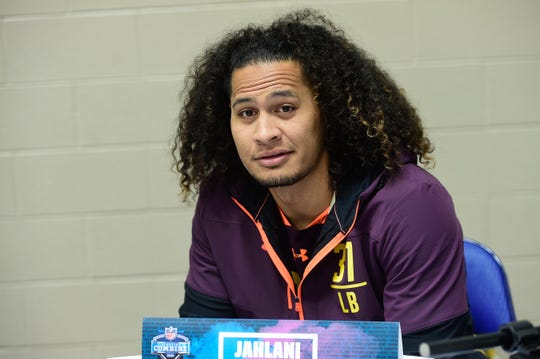 Hawaii linebacker Jahlani Tavai talks to the media during the NFL combine at Indianapolis Convention Center, March 2.