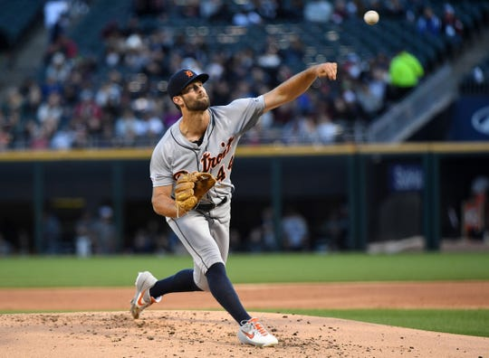 Tigers pitcher Daniel Norris throws a pitch against the Chicago White Sox during the first inning on Friday, April 26, 2019, in Chicago.
