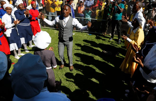 A gospel choir performs at Freedom Day celebrations in Kwa-Thema Township, near Johannesburg, Saturday April 27, 2019.