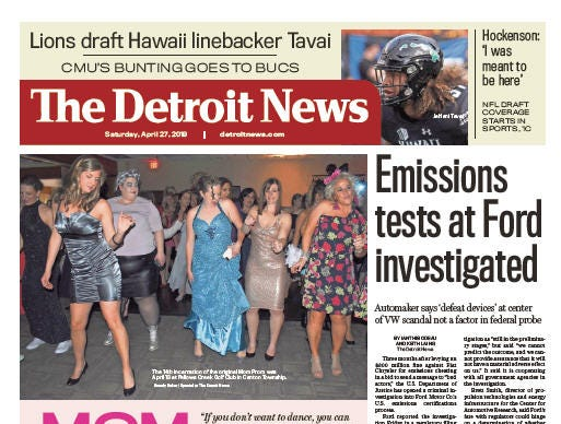 Front page of  The Detroit News on Saturday, April 27, 2019.