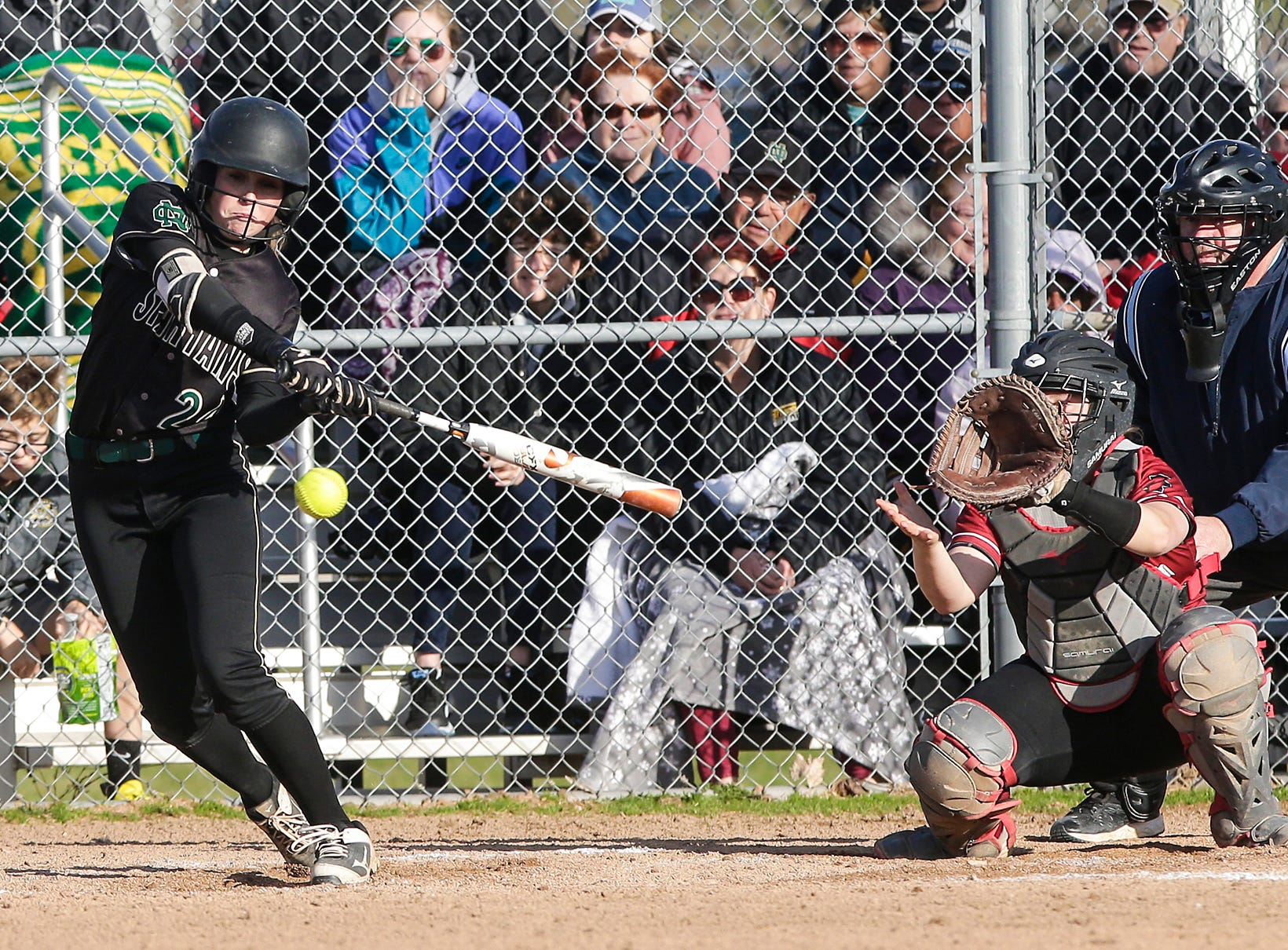 Oshkosh North High School softball's Emma Leib swings at a pitch against Fond du Lac High School during their game Friday, April 26, 2019 in Fond du Lac, Wis. Doug Raflik/USA TODAY NETWORK-Wisconsin
