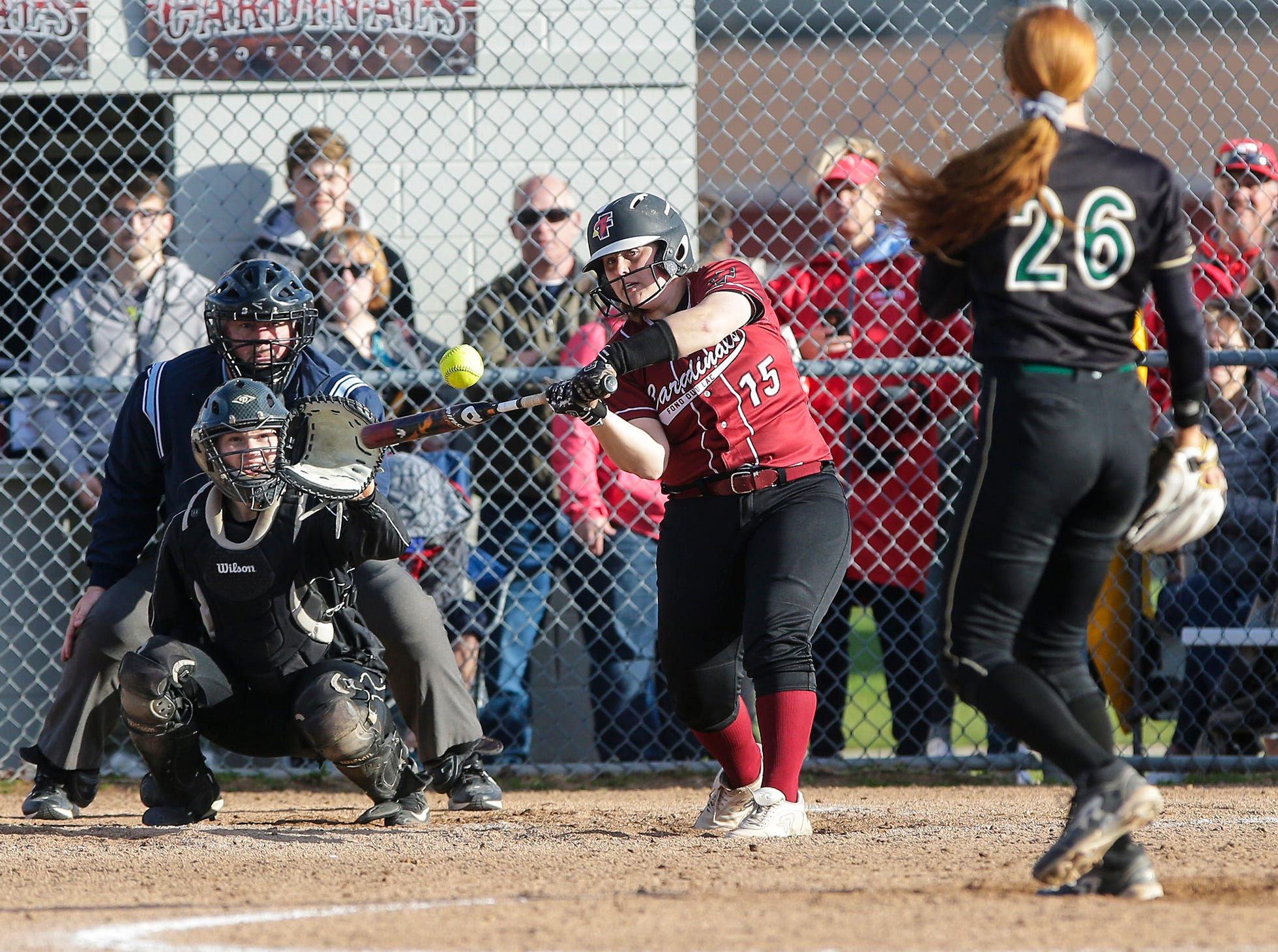 Fond du Lac High School softball's Lexi Nett swings at a pitch against Oshkosh North High School during their game Friday, April 26, 2019 in Fond du Lac, Wis. Doug Raflik/USA TODAY NETWORK-Wisconsin