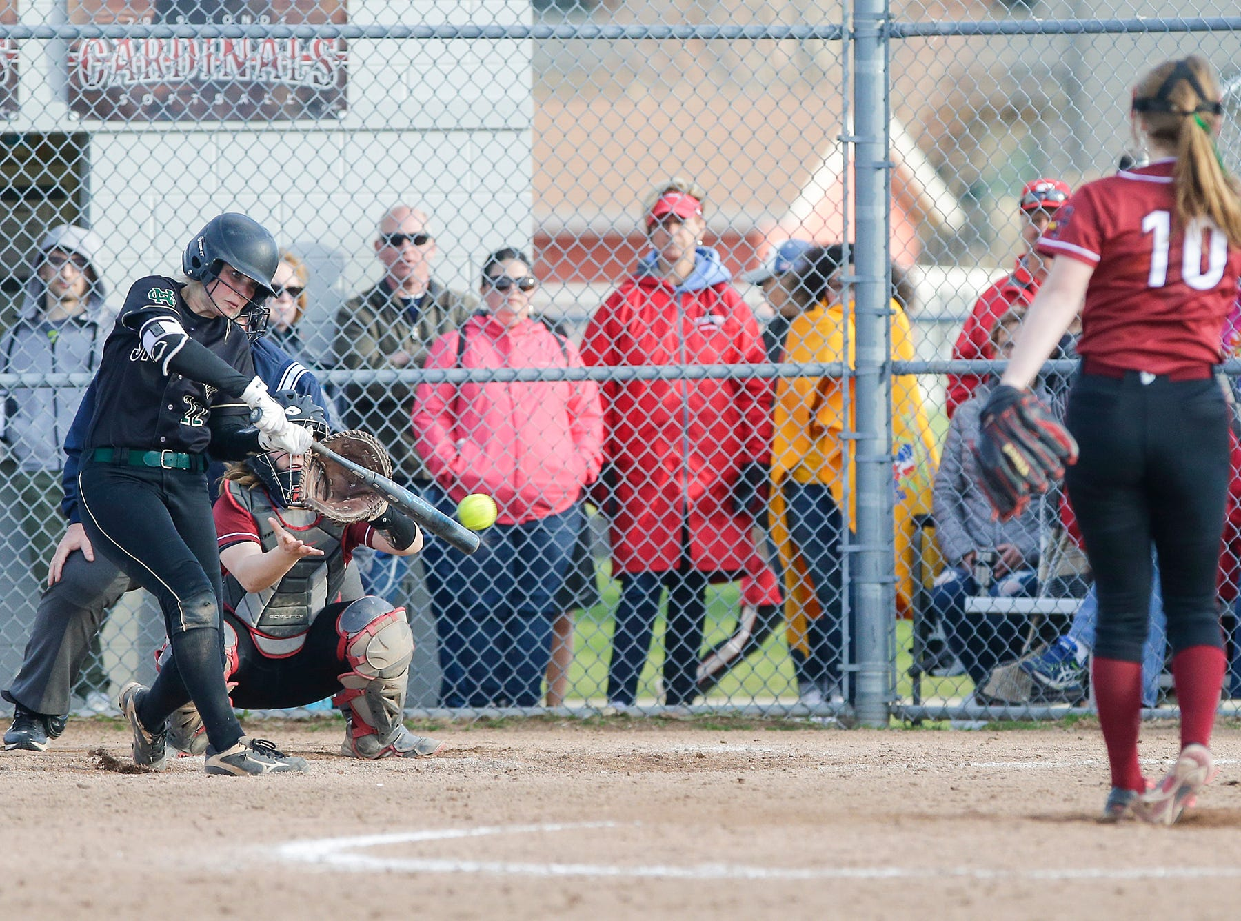 Oshkosh North High School softball's Brooke Ellestad swings at a pitch against Fond du Lac High School during their game Friday, April 26, 2019 in Fond du Lac, Wis. Doug Raflik/USA TODAY NETWORK-Wisconsin