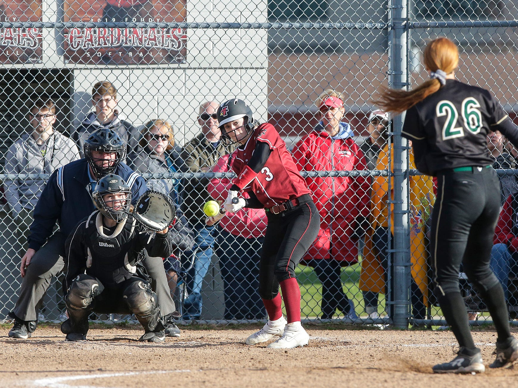 Fond du Lac High School softball's Brianna Biermann swings at a pitch against Oshkosh North High School during their game Friday, April 26, 2019 in Fond du Lac, Wis. Doug Raflik/USA TODAY NETWORK-Wisconsin
