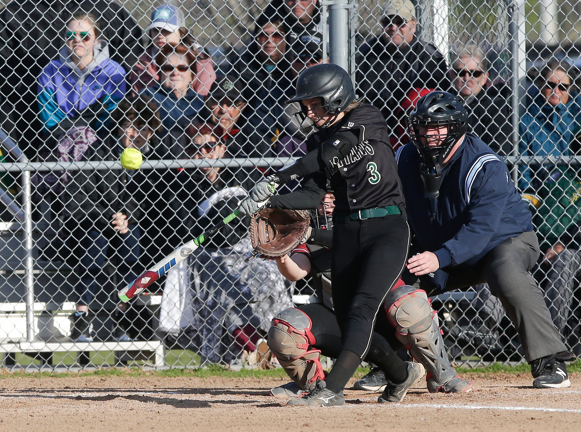 Oshkosh North High School softball's Courtney Day swings at a pitch against Fond du Lac High School during their game Friday, April 26, 2019 in Fond du Lac, Wis. Doug Raflik/USA TODAY NETWORK-Wisconsin