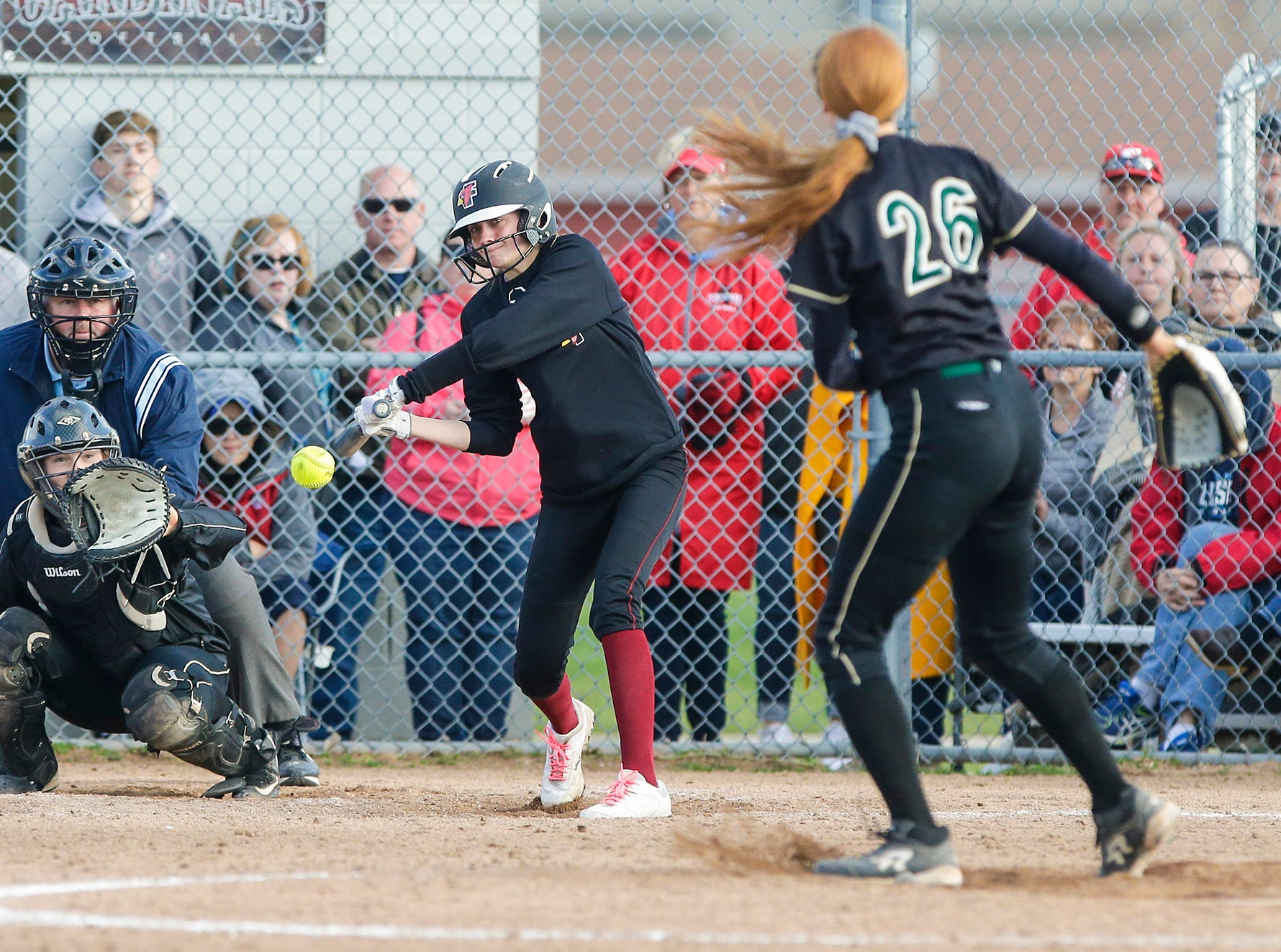 Fond du Lac High School softball's Nyah Odekirk swings at a pitch against Oshkosh West High School during their game Friday, April 26, 2019 in Fond du Lac, Wis. Doug Raflik/USA TODAY NETWORK-Wisconsin