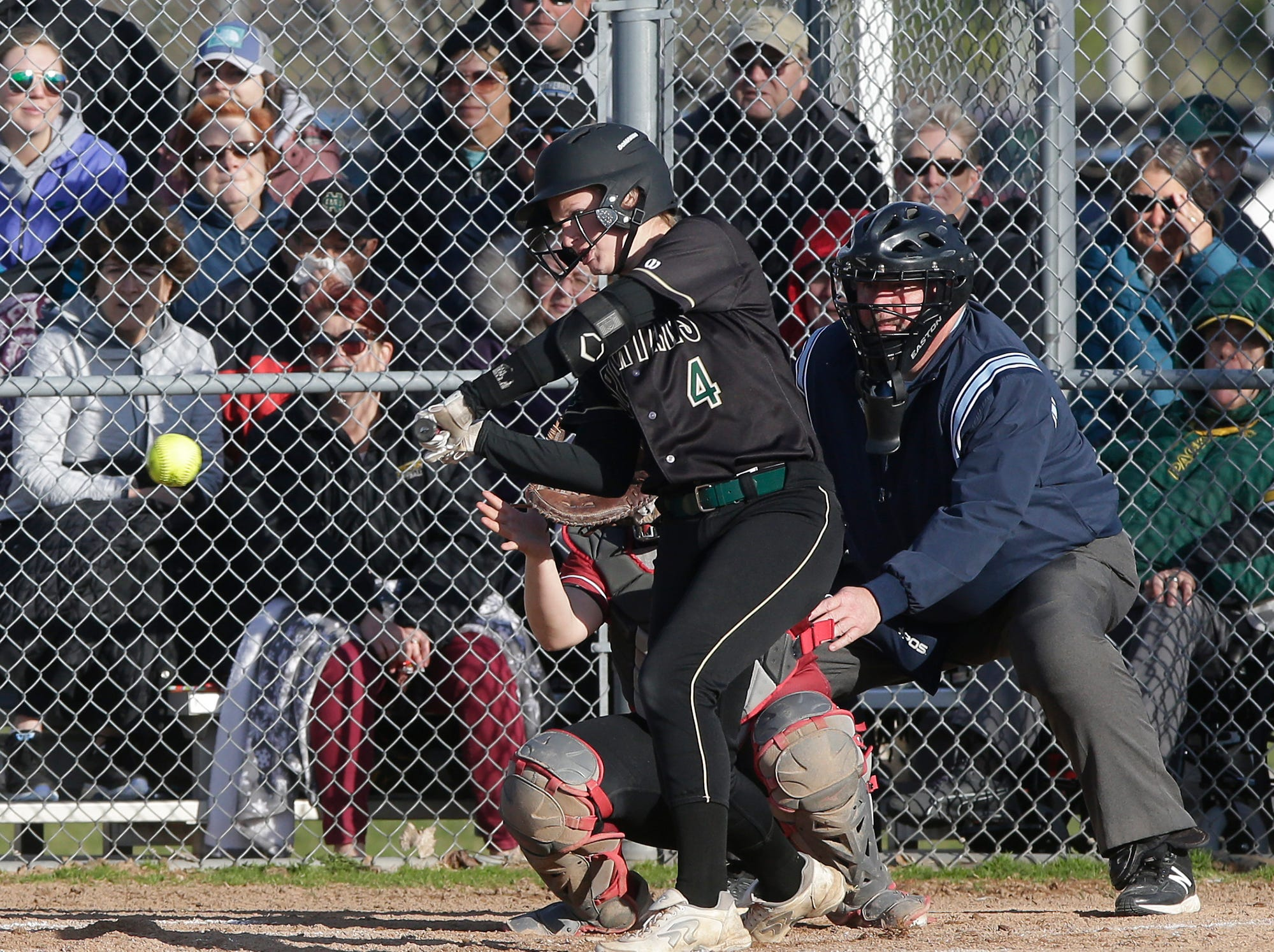 Oshkosh North High School softball's Noelle Frank swings at a pitch against Fond du Lac High School during their game Friday, April 26, 2019 in Fond du Lac, Wis. Doug Raflik/USA TODAY NETWORK-Wisconsin