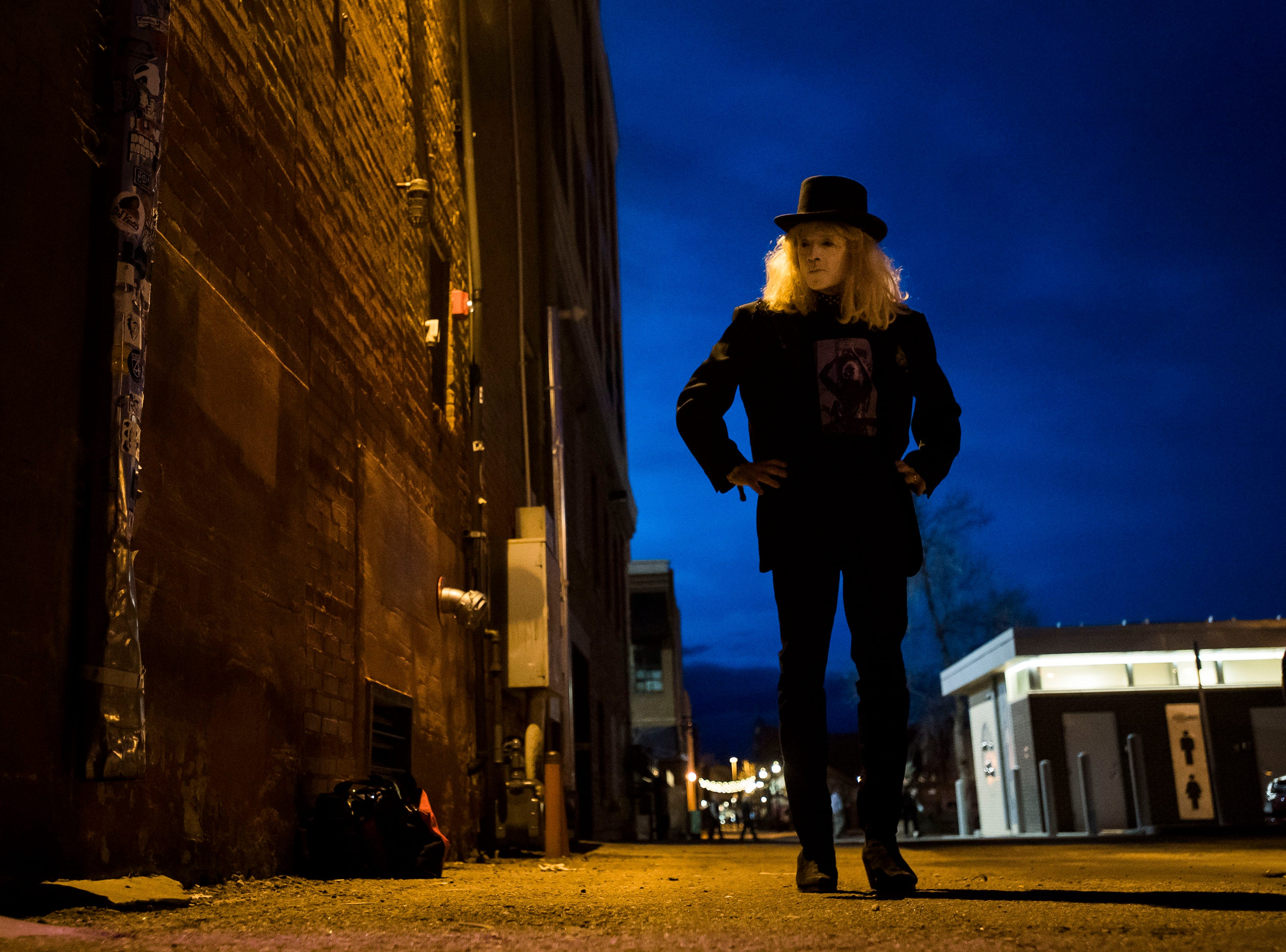 The Velveteers' Ozzie paces in the back alley behind of The Aggie Theatre while waiting to take the stage during the FoCoMX XI music festival on Friday, April 26, 2019, in Fort Collins, Colo.