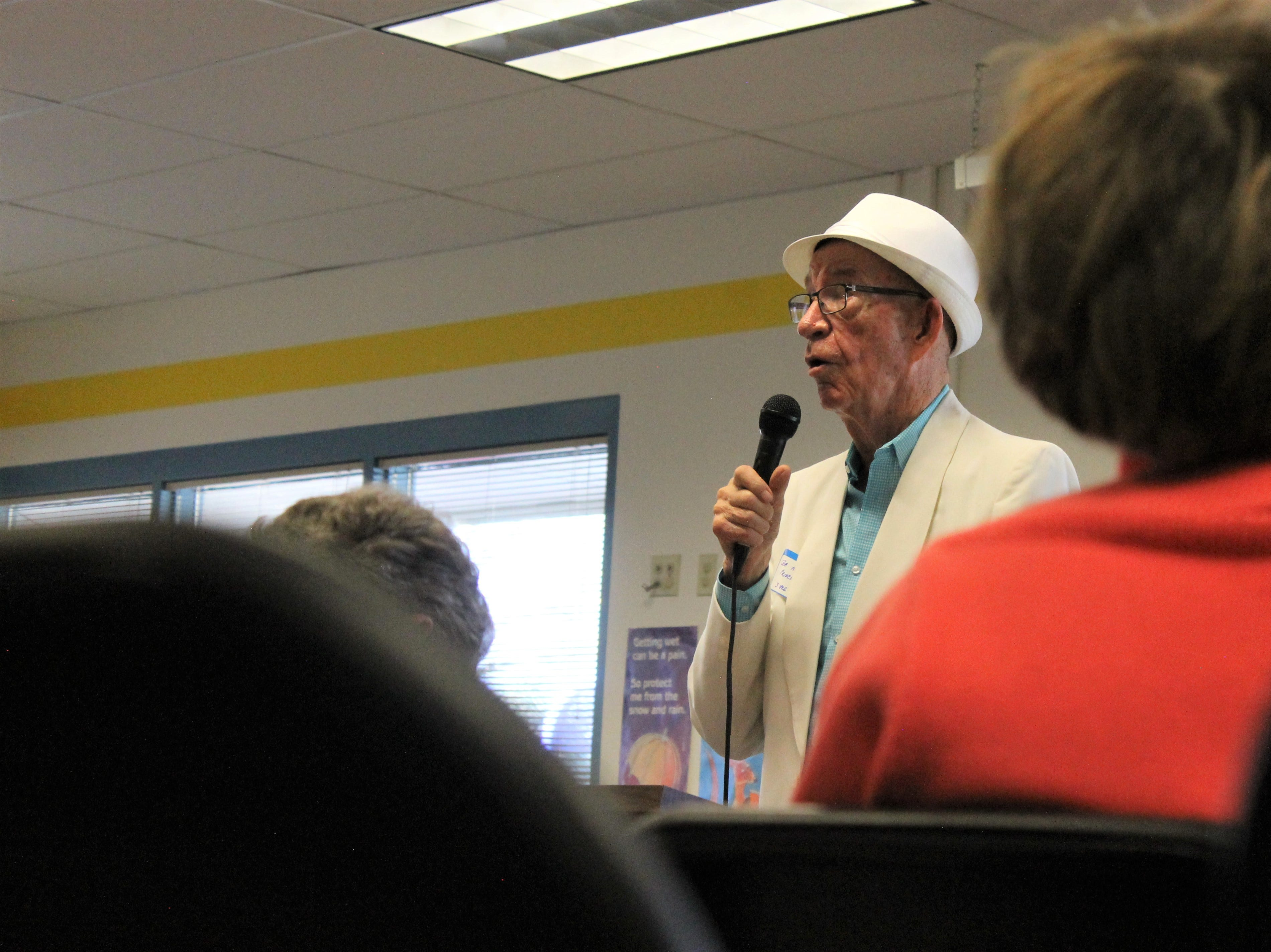 Bob Asmus, 80, is Riffenburgh Elementary School's original principal. He traveled from Denver Friday, April 26, 2019 to speak at the school's 50th anniversary celebration.
