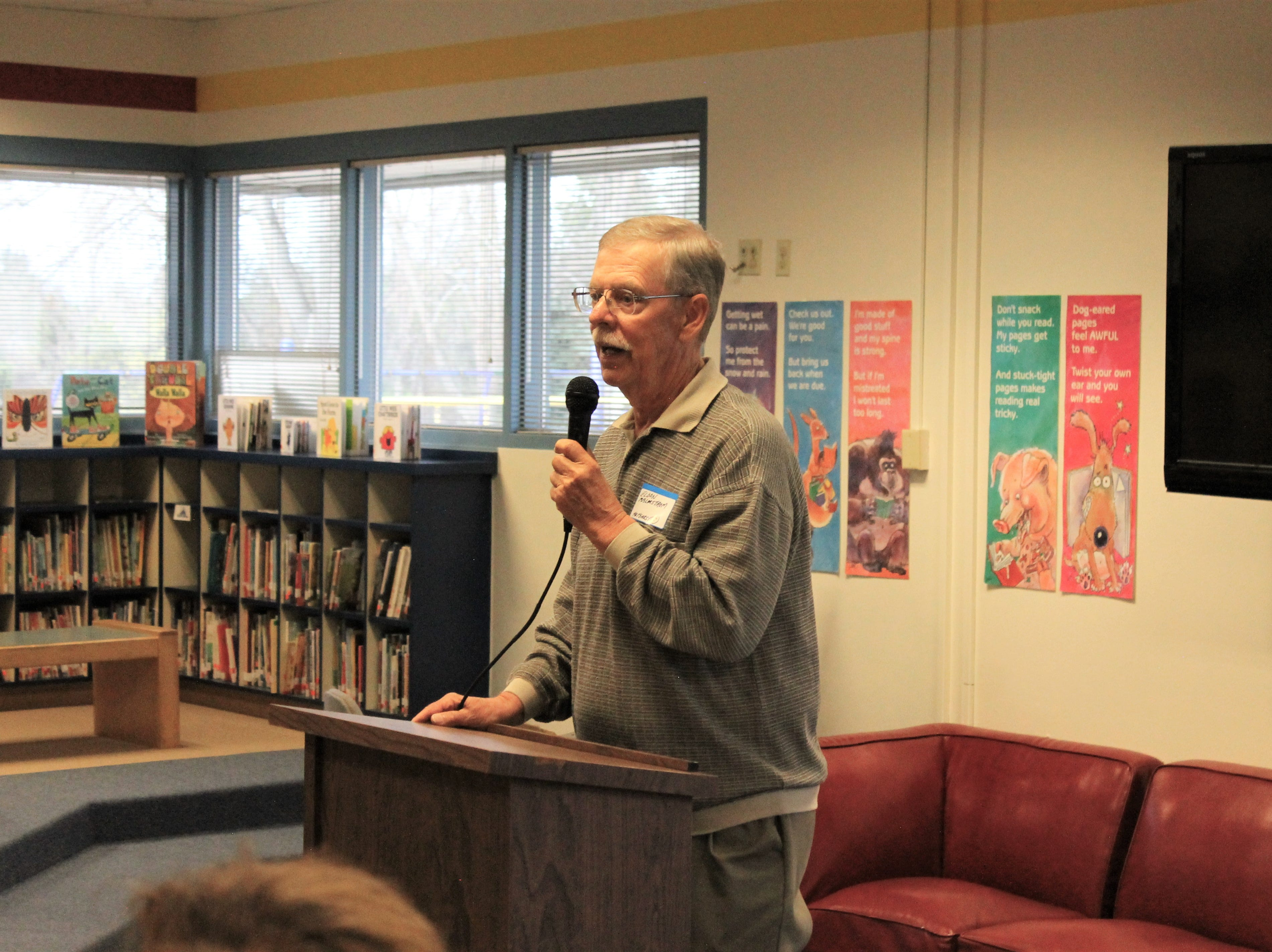 Eldon Malmstrom, one of the original teachers at Riffenburgh Elementary School, spoke at the school's 50th anniversary celebration Friday, April 26, 2019. Malmstrom was known for his creativity in the classroom.