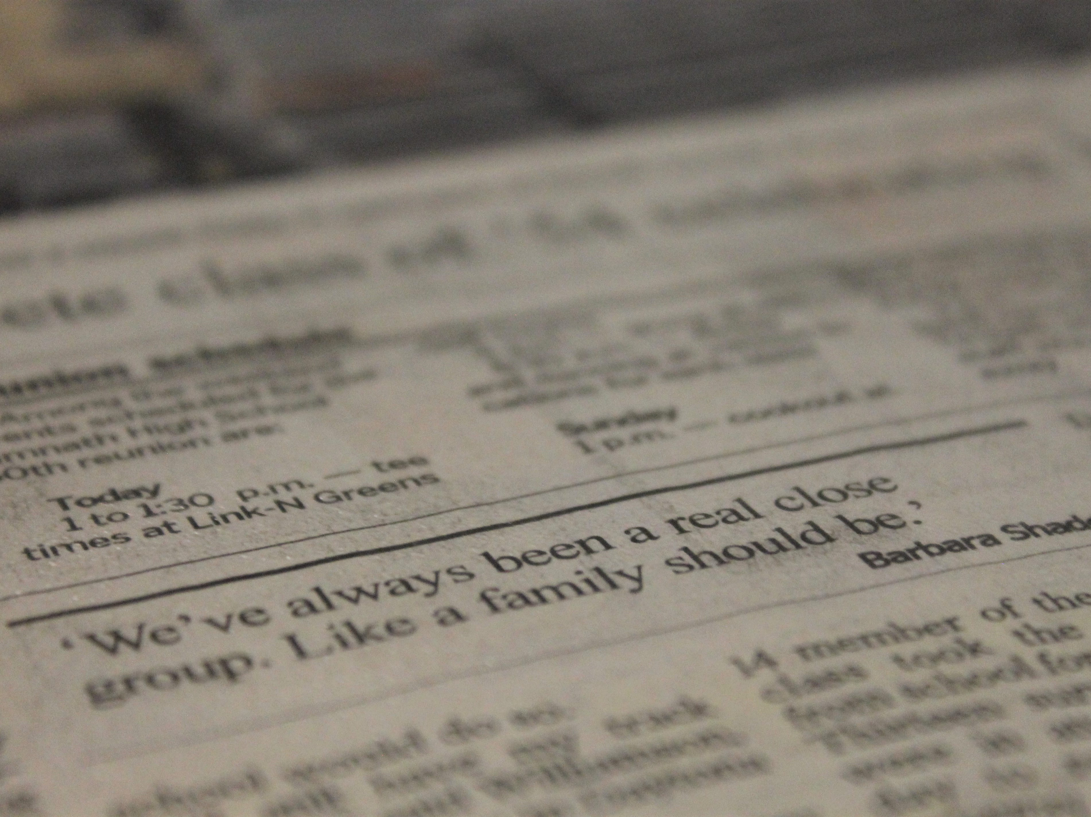 """At Timnath's 100th anniversary celebration Saturday, April 27, 2019, the school displayed old news clippings. One quote reads, """"We've always been a real close group. Like a family should be."""""""