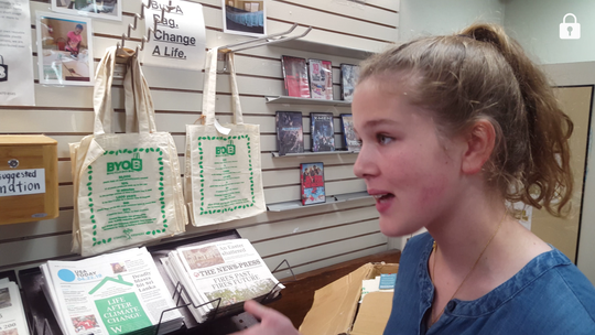 Ella Thiele, 13, is working to get plastic bags banned in Lee County.