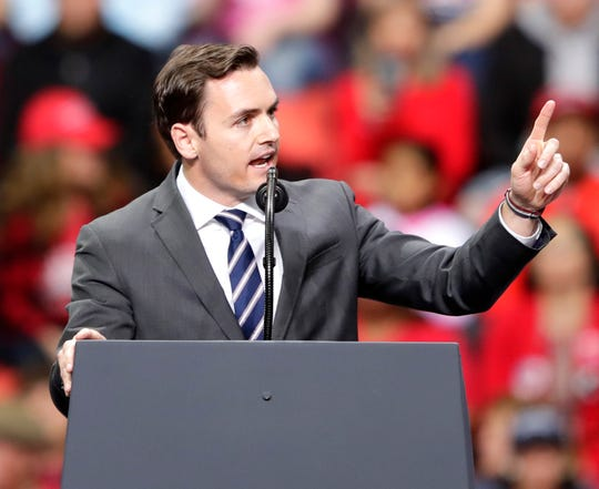 Rep. Mike Gallagher speaks during a President Donald J. Trump's Make America Great Again Rally on Saturday, April 27, 2019, at the Resch Center in Green Bay, Wis.