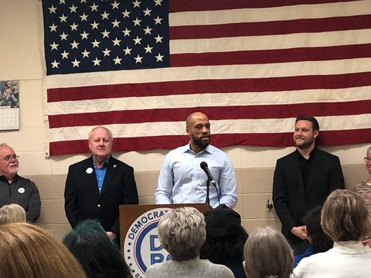 Wisconsin Lt. Gov. Mandela Barnes speaks to supporters Saturday at the Labor Temple in Green Bay. He gave the Democratic response ahead of President Donald Trump's rally Saturday night at the Resch Center in Ashwaubenon.