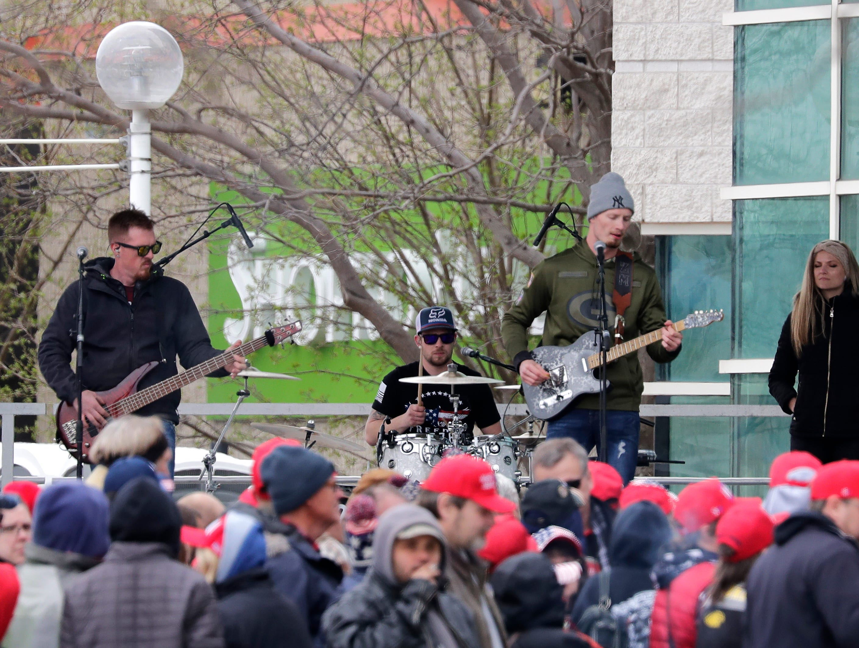 A band entertains supporters waiting in line, some all night, before President Donald J. TrumpÕs Make America Great Again Rally on Saturday, April 27, 2019, at the Resch Center in Green Bay, Wis.