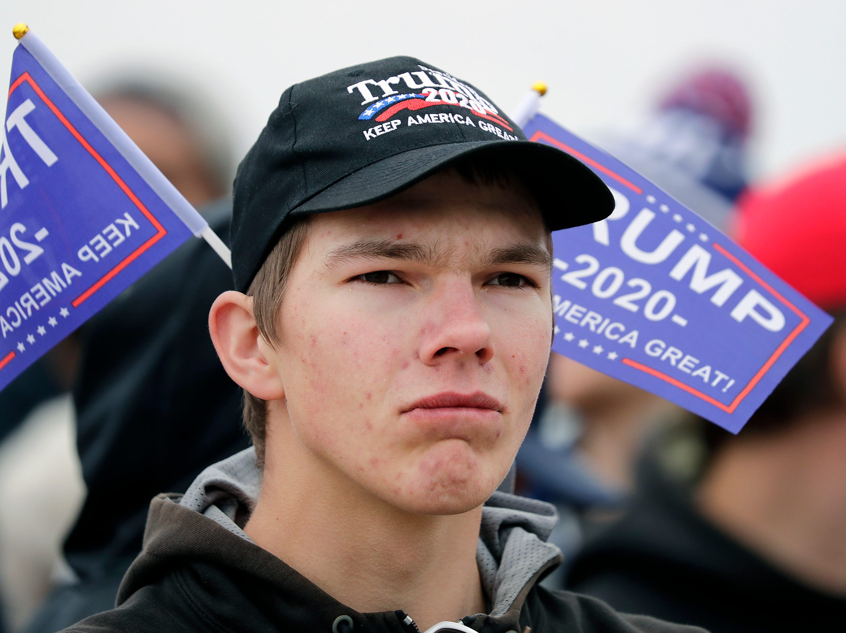 Ted Mortberg waits in line before President Donald J. TrumpÕs Make America Great Again Rally on Saturday, April 27, 2019, at the Resch Center in Green Bay, Wis.