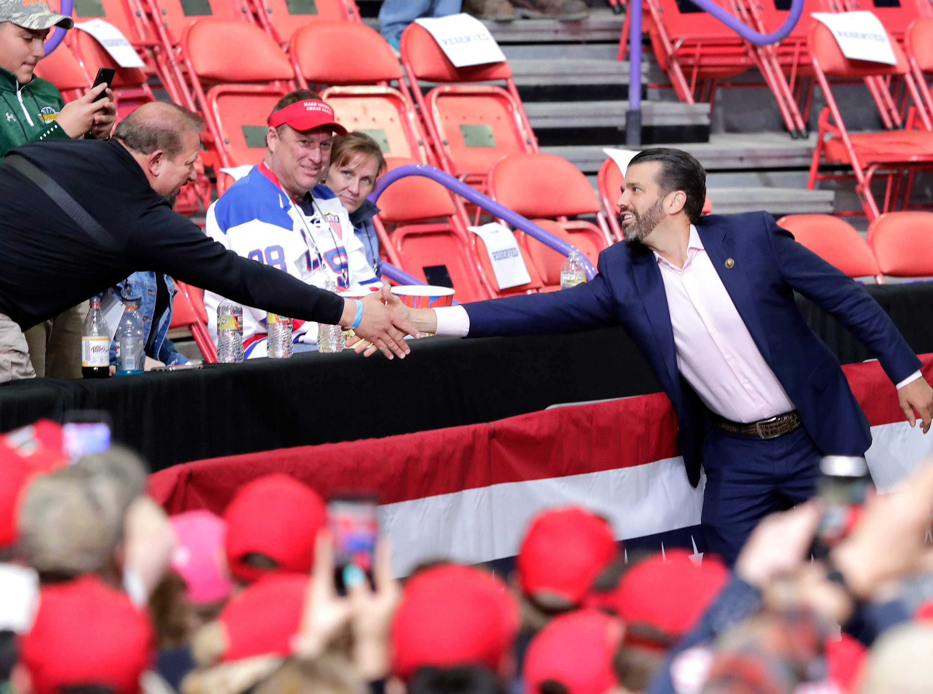 Donald Trump Jr. greets supporters before President Donald J. Trump's Make America Great Again Rally on Saturday, April 27, 2019, at the Resch Center in Green Bay, Wis.