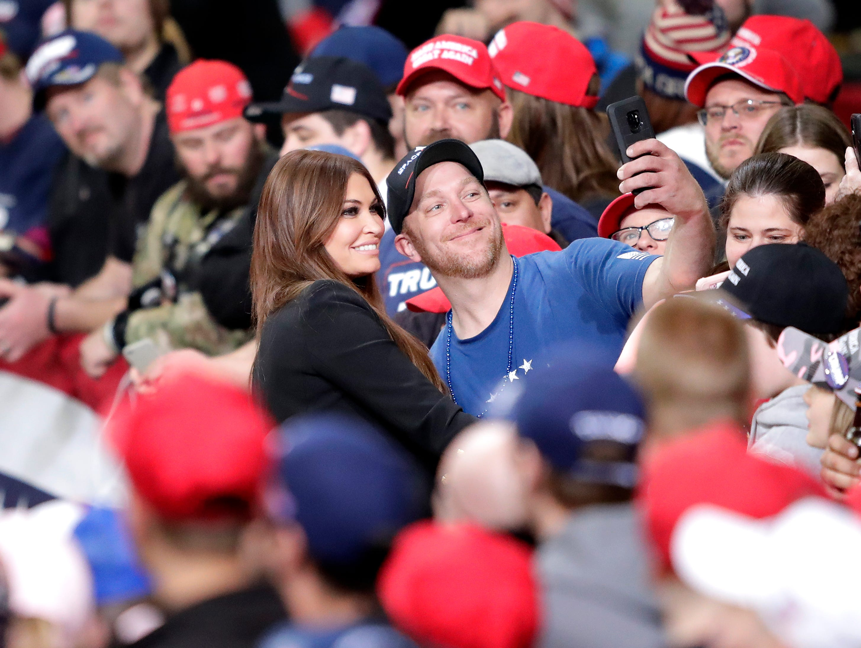 Former Fox News contributor Kimberly Guilfoyle greets supporters before President Donald J. TrumpÕs Make America Great Again Rally on Saturday, April 27, 2019, at the Resch Center in Green Bay, Wis. Wm. Glasheen/USA TODAY NETWORK-Wisconsin.