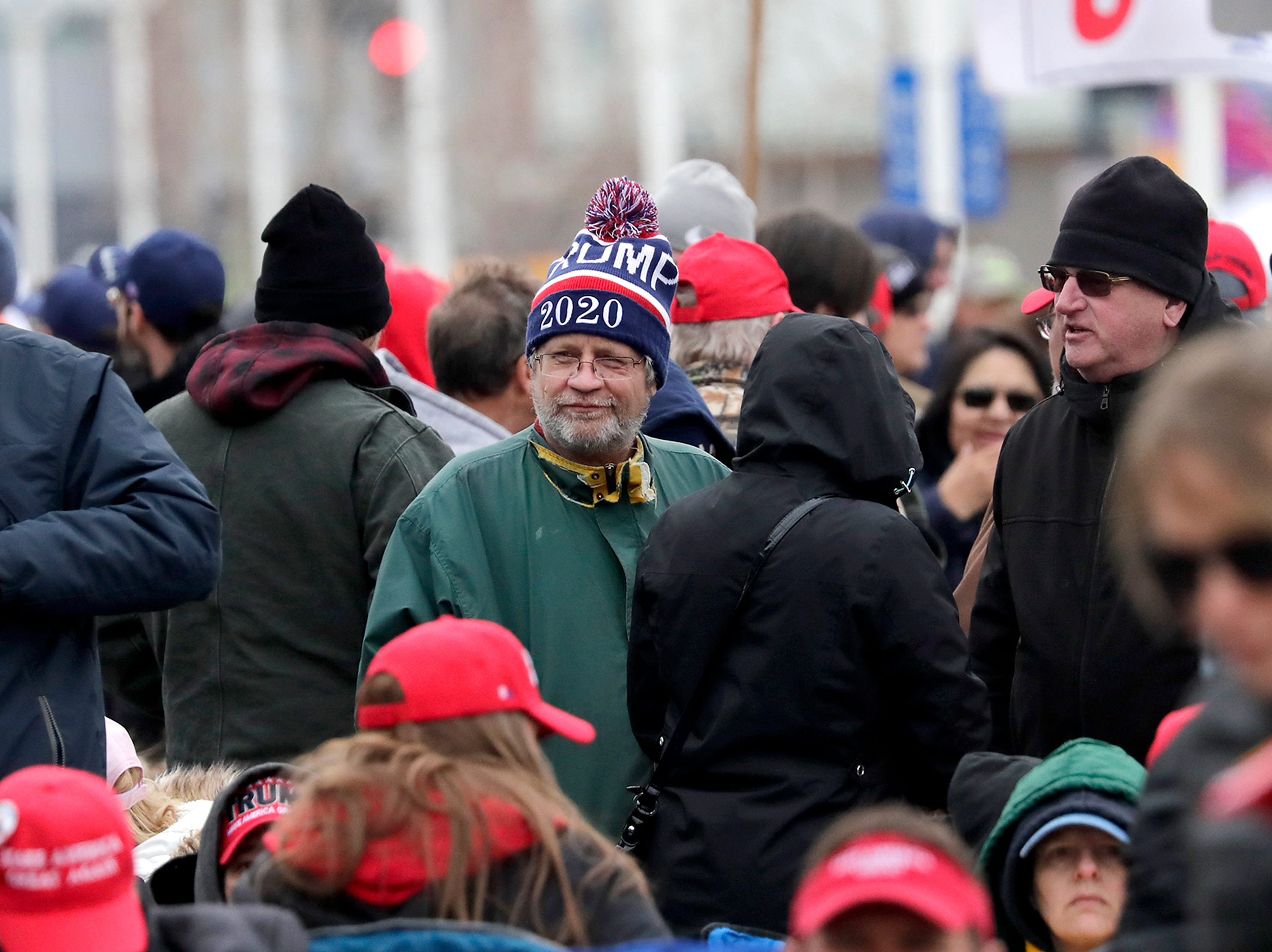 Supporters wait in line, some all night, before President Donald J. Trump's Make America Great Again Rally on Saturday, April 27, 2019, at the Resch Center in Green Bay, Wis.
