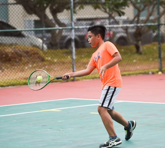 Maico Frasco, 10, competes in a match for the 2019 Häagen-Dazs Junior Tennis Circuit at Sheraton Laguna Guam Resort in Tamuning on April 27, 2019.
