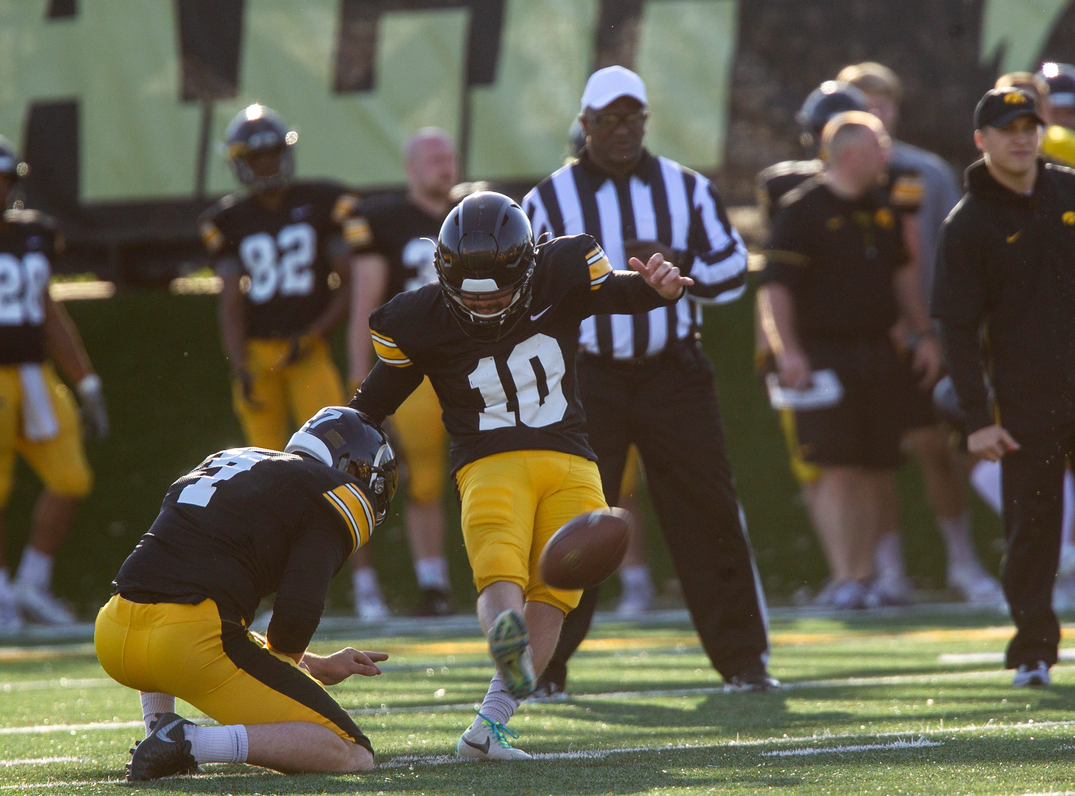 Iowa placekicker Caleb Shudak attempts a field goal during the final spring football practice, Friday, April 26, 2019, at the University of Iowa outdoor practice facility in Iowa City, Iowa.