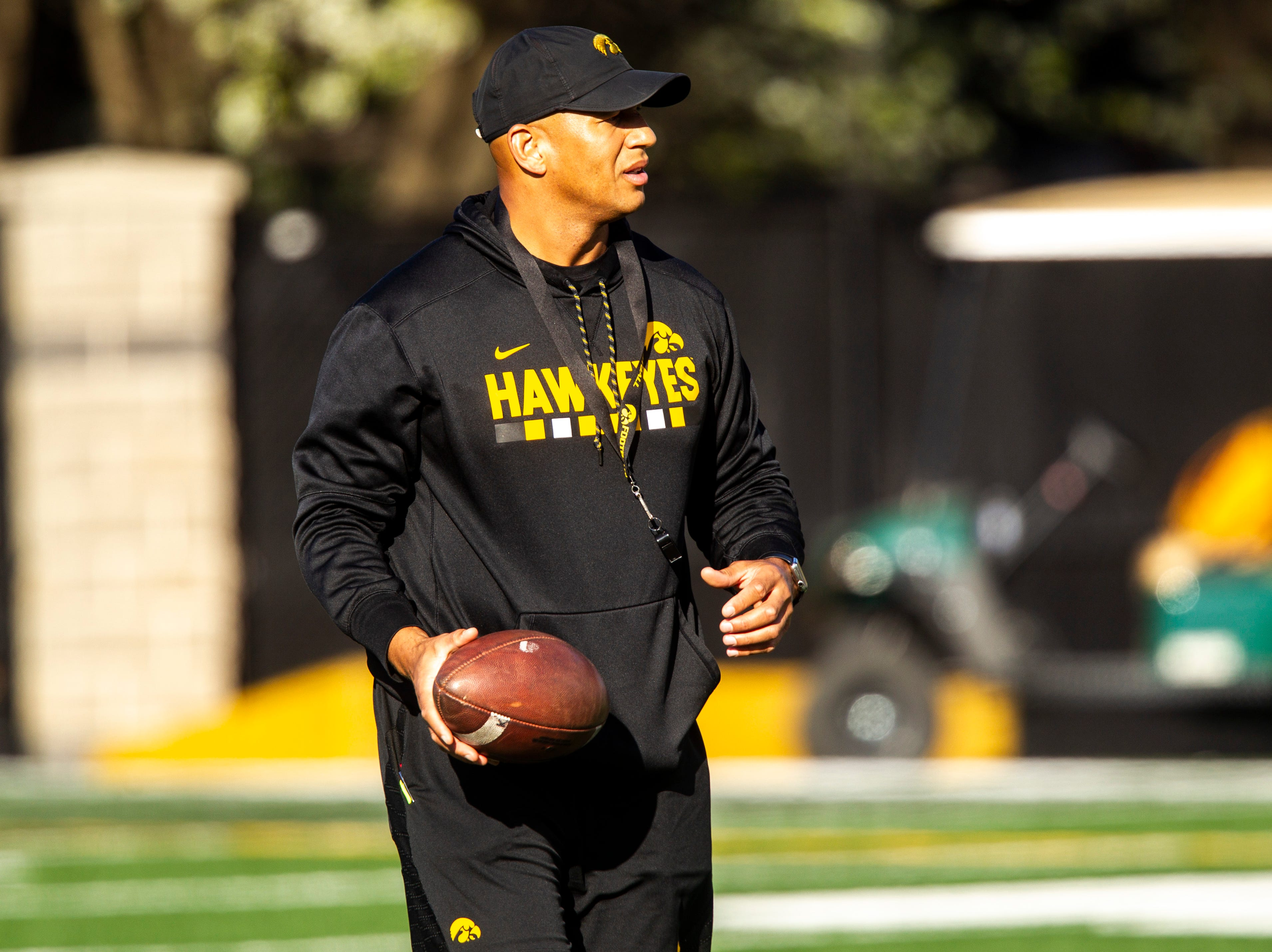 Iowa special teams coordinator LeVar Woods is pictured during the final spring football practice, Friday, April 26, 2019, at the University of Iowa outdoor practice facility in Iowa City, Iowa.