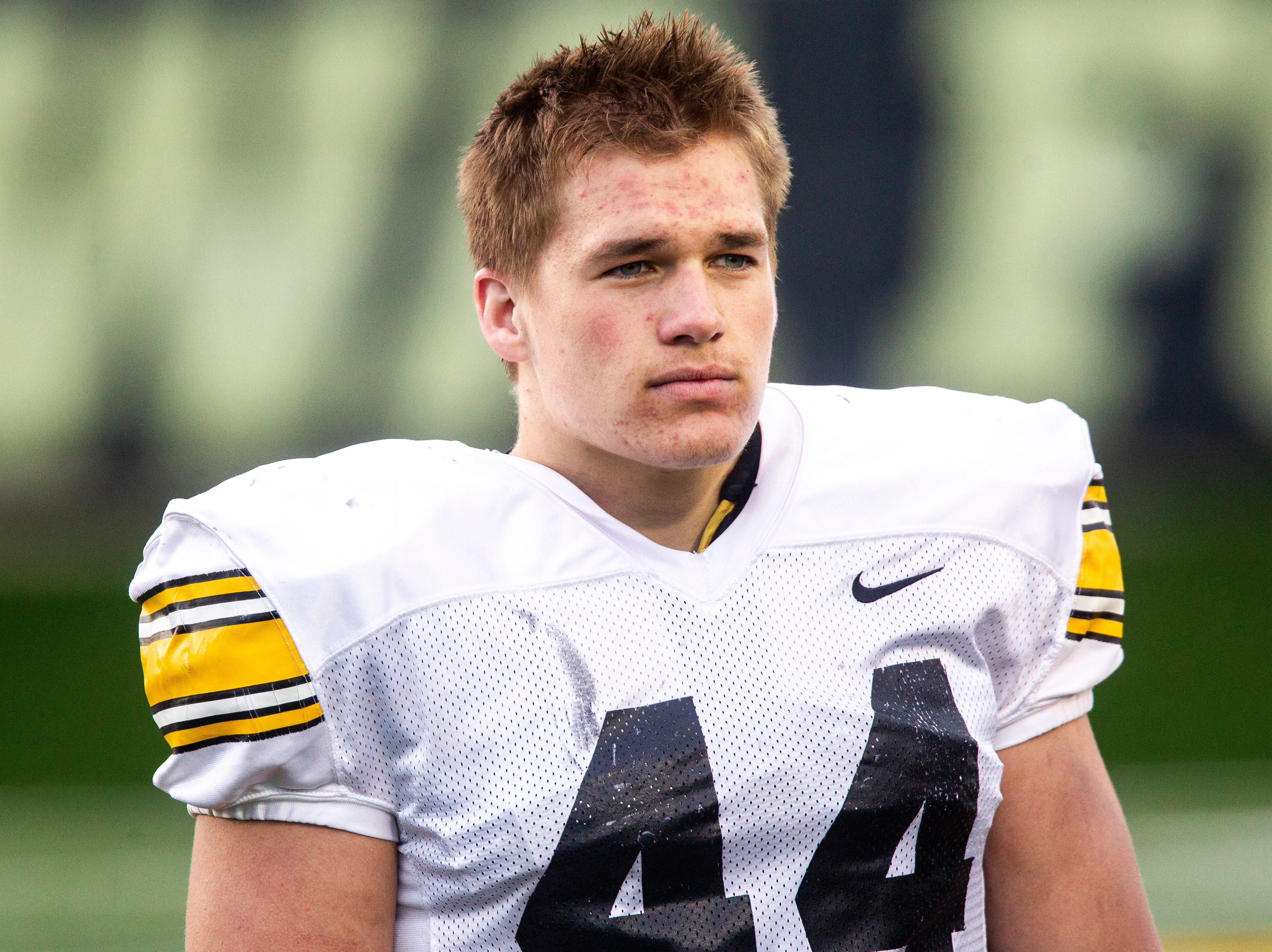 Iowa linebacker Seth Benson (44) is pictured during the final spring football practice, Friday, April 26, 2019, at the University of Iowa outdoor practice facility in Iowa City, Iowa.