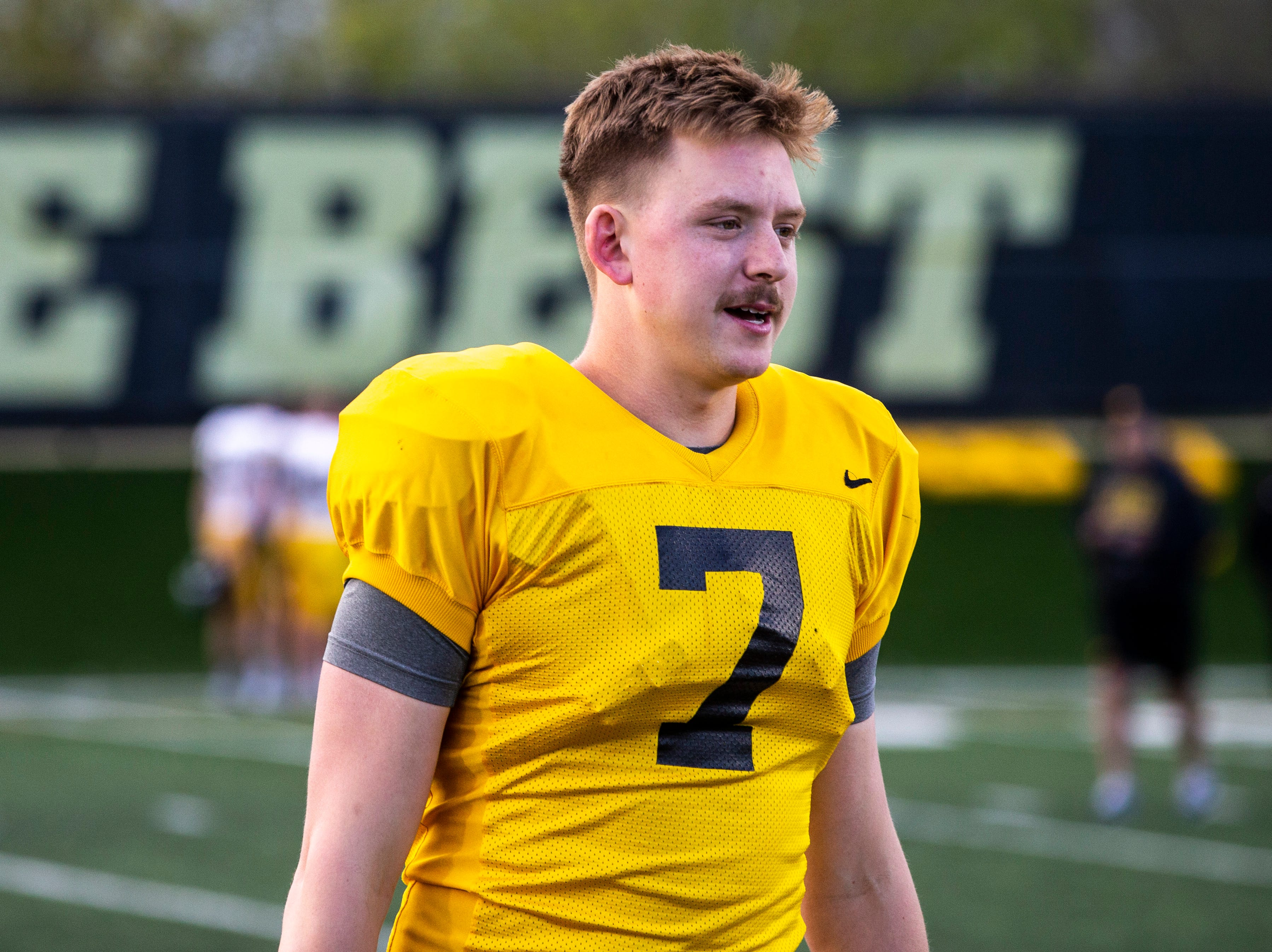 Iowa quarterback Spencer Petras (7) is pictured during the final spring football practice, Friday, April 26, 2019, at the University of Iowa outdoor practice facility in Iowa City, Iowa.