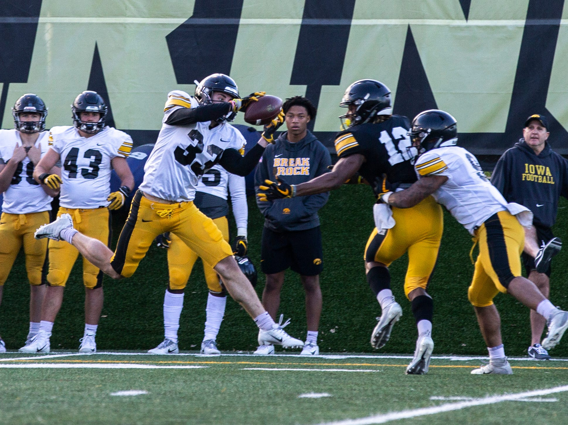 Iowa defensive back Riley Moss (33) catches an interception during the final spring football practice, Friday, April 26, 2019, at the University of Iowa outdoor practice facility in Iowa City, Iowa.